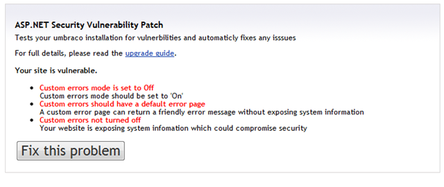 we recommend you to  and run the security patch